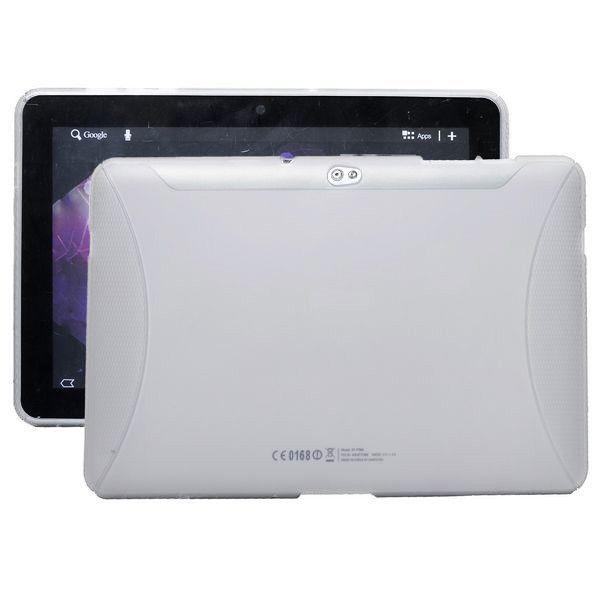 TPU Shell (Hvit Gjennomsiktig) Samsung Galaxy Tab 10.1 P7500 Deksel