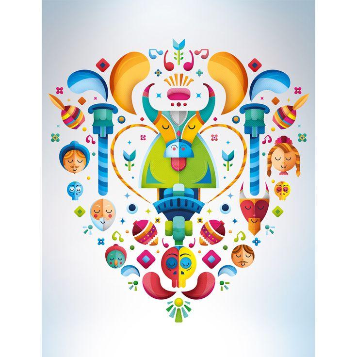 Autor: Erick González Obra: Festival Silao Danza del Torito #Cartel #Colores #Vector