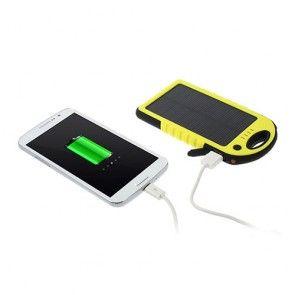 Vandtæt Solcelle Power Bank (Gul) 5000mAh til Smartphones