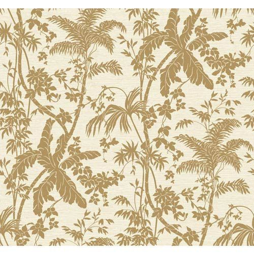 Ashford House Tropics Medium Brown and Cream Palm Shadow Wallpaper