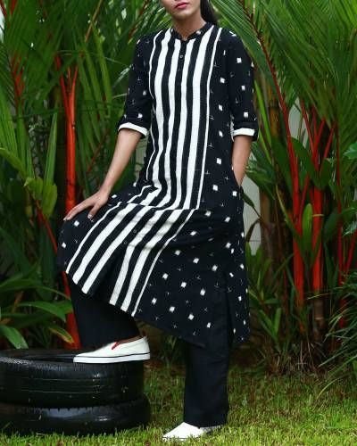Black And White Ying Yang Ikat Kurta