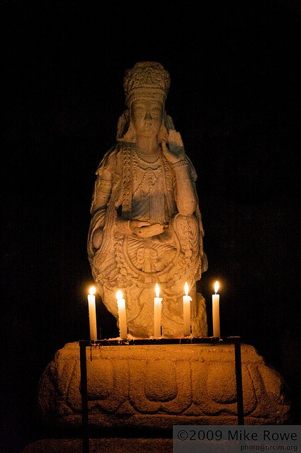 Ancient Guanyin statue    Marble statue located in a cave that is part of Gwaneumsa Temple near Kaesong, North Korea