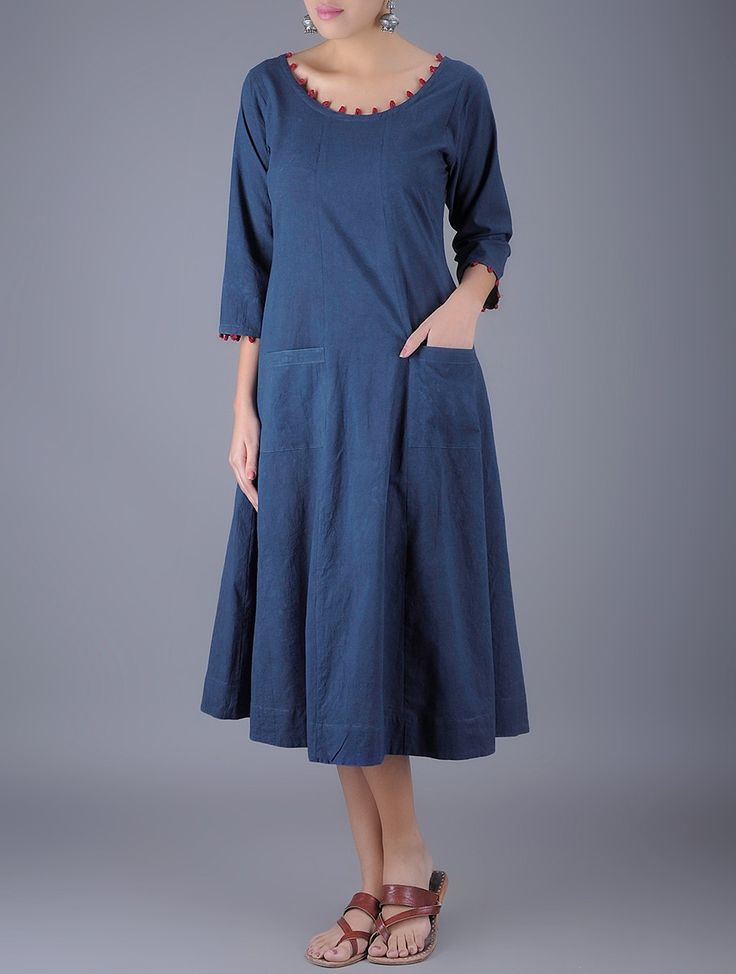 Buy Indigo Maroon Round Neck Flared Natural Dyed Cotton Dress with Pockets Women Dresses Online at Jaypore.com