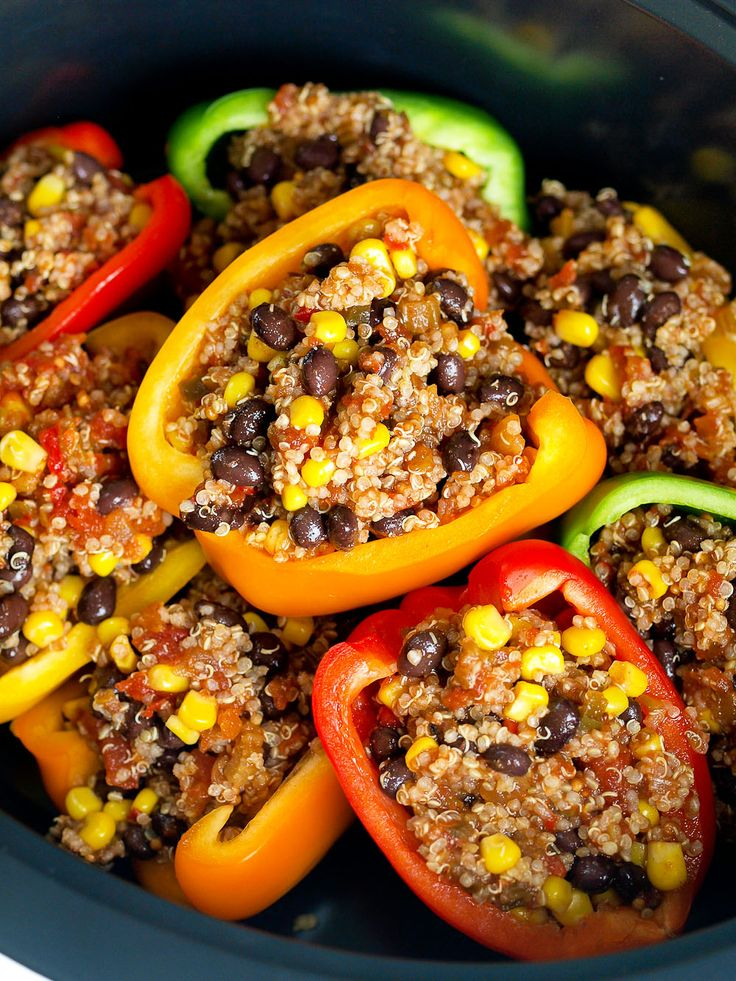 Crock Pot 174 Mexican Vegan Stuffed Peppers Slow Cooker Recipe Vegan Slow Cooker Vegan Recipes