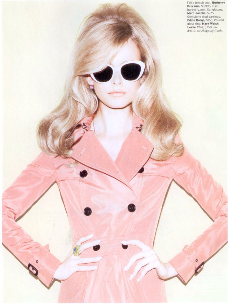 60's Hair, Burberry glasses and trench coat.