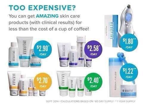 You can't put a price on beautiful, young looking skin!!! However, we have broken it down. You can spend less than it costs to buy a cup off coffee per day and have gorgeous skin that people will rave about. Please contact me for more info at http://jmoon.myrandf.com