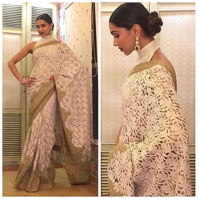 Perfect definition of Elegance  @deepikapadukone shines bright in this cream saree by @rohitbal_ . Styled by @shaleenanathani @styledbyshaleenanathani. Hair and Makeup by @namratasoni. Tap for more credits.! #deepikapadukone #deepika