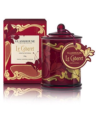 Le Cabaret Violet & Patchouli Limited Edition Triple Scented Candle by Glasshouse Fragrances