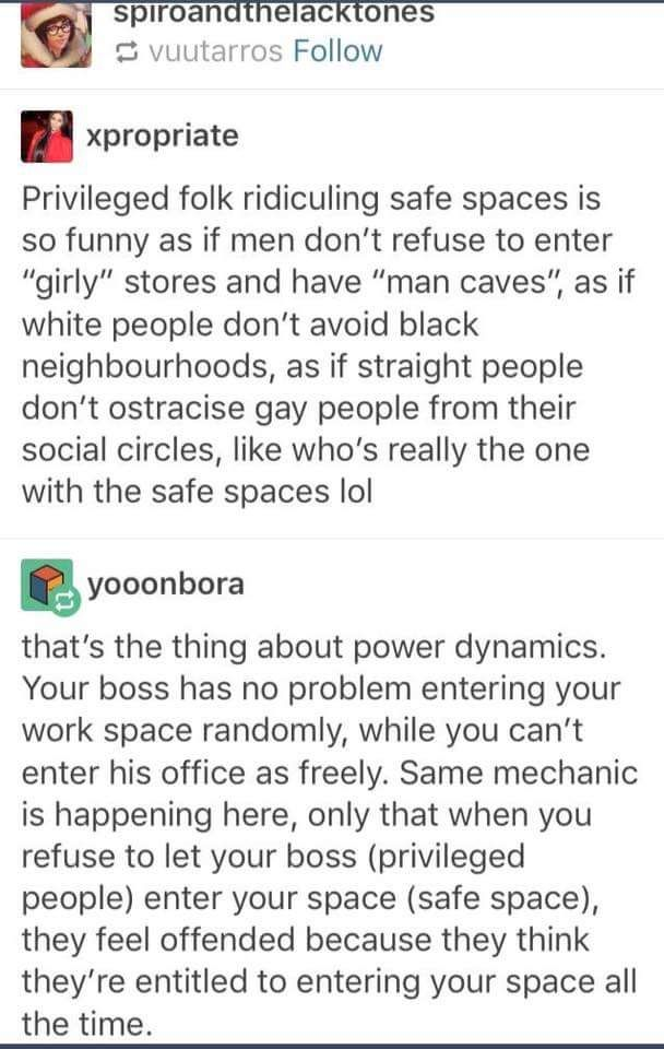 'safe spaces'