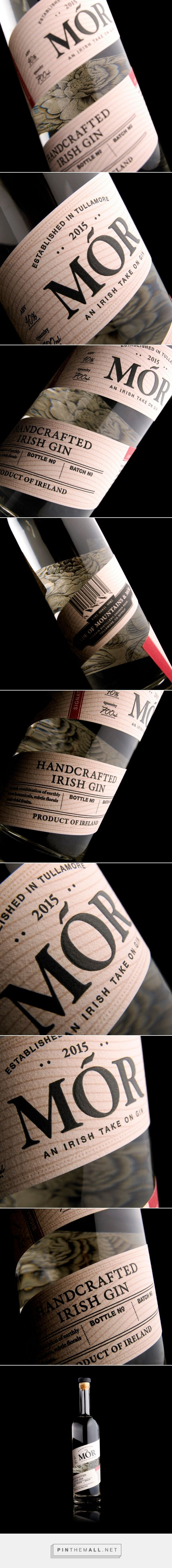 Mór Gin packaging manufactured by Royston Labels - http://www.packagingoftheworld.com/2018/02/mor-gin.html