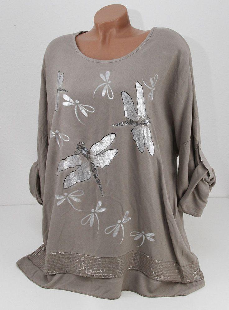 Lagenlook Tunika Shirt Pailletten Libelle taupe EG 48 50 NEU in Kleidung & Accessoires, Damenmode, Blusen, Tops & Shirts | eBay