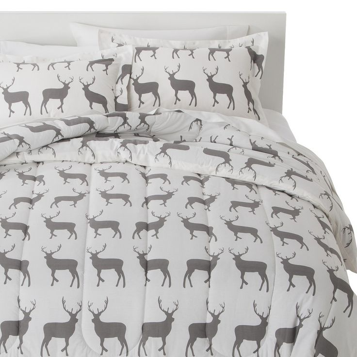 Anorak Stag Comforter Set - Gray/White