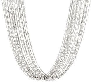 "Italian Jewelry Collection As Is Italian Silver Sterling 34"" Multi-Strand Necklace,101.0g"