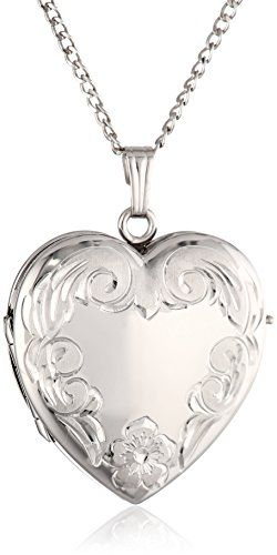 Sterling Silver Engraved Four-Picture Heart Locket Necklace, 20""