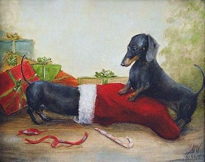 """""""Home for the Holidays"""" - Two dachshunds playing at Christmas."""