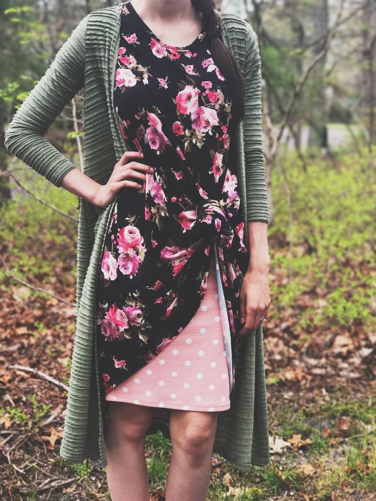 LuLaRoe Cassie Skirt paired with a knotted LuLaRoe Carly Dress and LuLaRoe Sarah Cardigan