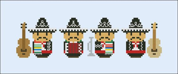 Cute little Mexican Band PDF cross stich pattern by cloudsfactory