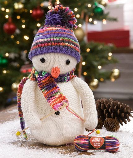 Knitting Snowman Free Knitting Pattern from Red Heart Yarns - Any knitter will love having this wonderfully designed snowman to display all winter long.