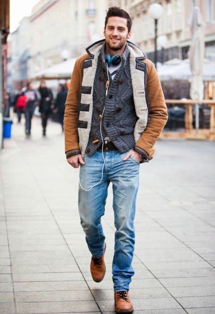 22 Comfy Shearling Jacket Outfits For Men