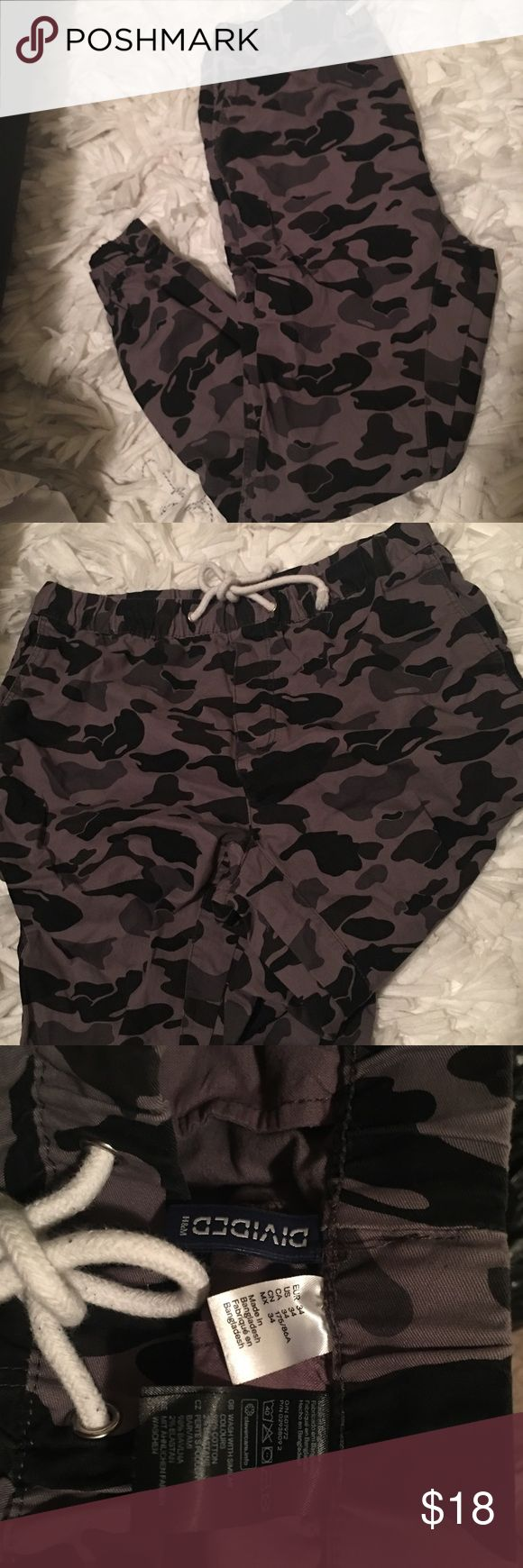 Camo Jogger Pants Cute joggers that are almost denim like material. Like new and true fit. H&M Pants Sweatpants & Joggers