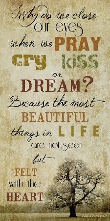 Why do we close our eyes when we Pray, Cry, Kiss or Dream? Because the most Beautiful things in Life are not seen but felt with the Heart