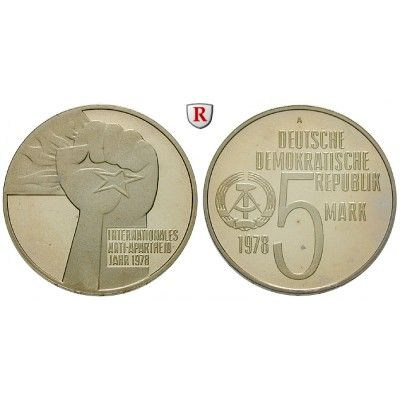DDR, 5 Mark 1978, Antiapartheid, PP, J. 1569: Kupfer-Nickel-5 Mark 1978. Antiapartheid. J. 1569; Polierte Platte, verkapselt (nicht… #coins