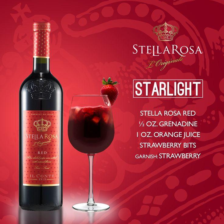 Stella Rosa Wines original cocktail recipe: Starlight. -- Combine strawberry bits, 1/2 oz. grenadine, Stella Rosa Red and 1 oz. orange juice. Garnish with a strawberry.