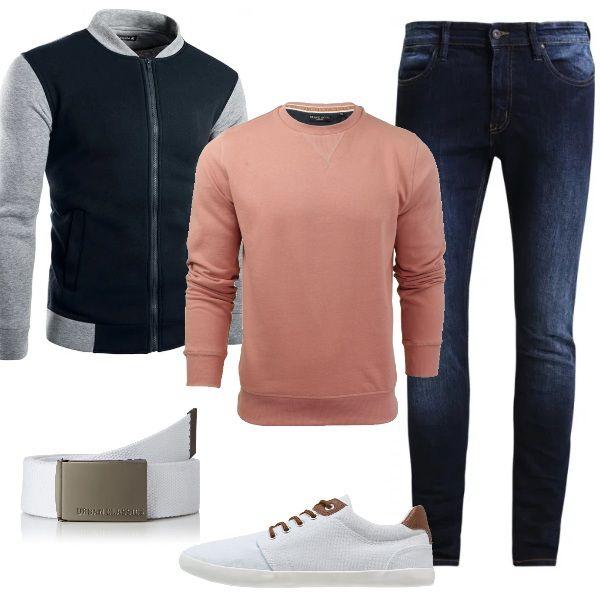 Per un colloquio di lavoro, in un luogo giovane e dinamico, ci vuole un look particolare ma non esagerato. Ho scelto jeans skinny, maglione winter rose, giacca stile Varsity, sneakers basse white con lacci in contrasto e cintura con fibbia white. Sportivi ma d'effetto.