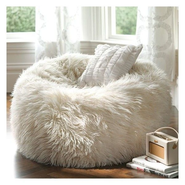 PB Teen Furlicious Beanbag, Large, Ivory at Pottery Barn Teen - Bean... (£66) ❤ liked on Polyvore featuring home, furniture, chairs, accent chairs, bean bag, cream chair, pbteen, antique white chairs and circular chair