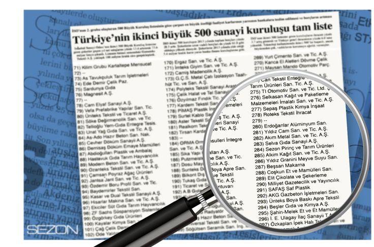 İstanbul Sanayi Odası'nın hazırladığı, Türkiye'nin ikinci 500 büyük şirketi sıralamasında, Sezon Pirinç 284. sırada yer aldı.