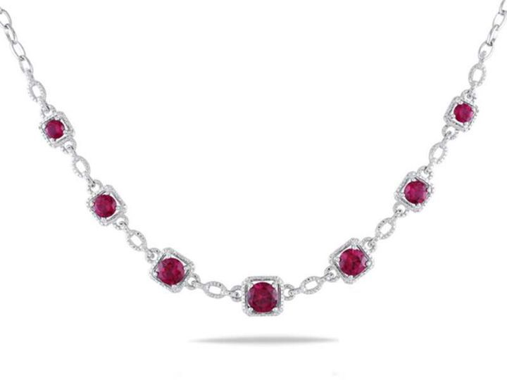 """Zales Lab-Created Ruby and Diamond Accent Necklace in Sterling Silver - 17"""""""