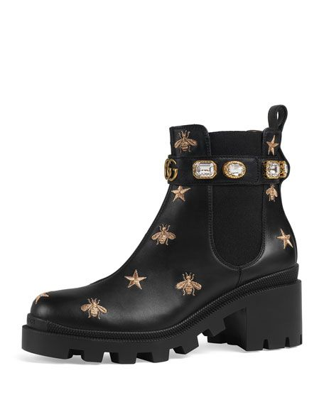 7f87c334376 Gucci Star And Bee Embroidered Boots in 2019