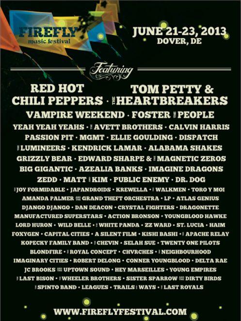 Firefly Festival Announces 2013 Lineup