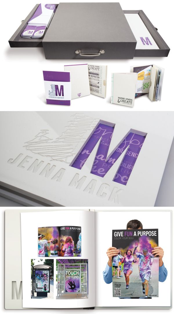 Provide interaction—from creative die cutting and embossed effects, to a uniquely built carrying case that opens both drawers at the same time. Providing the audience a chance to experience the portfolio with their hands as well as their eyes makes the work much more appealing and memorable.