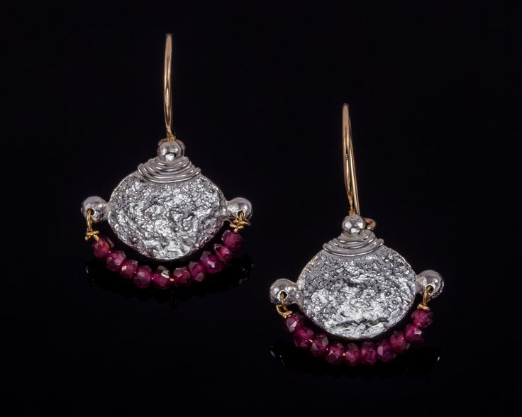 Garnet ethnic earrings - Sterling silver, Gold-filled silver by JackAssayagJewelry on Etsy