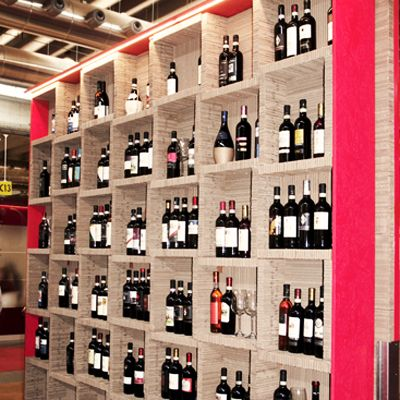 Cardboard wine cellar.