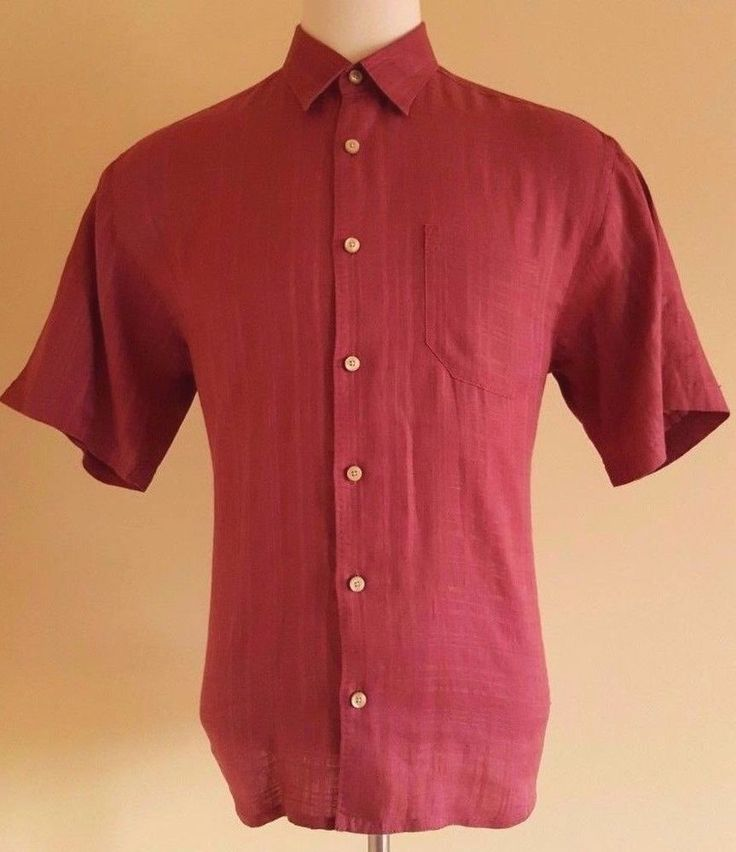 TOMMY Bahama MENS Linen SHIRT L Large RED Man SIZE Sz CHECKED Deep CASUAL Check* #TommyBahama #ButtonFront