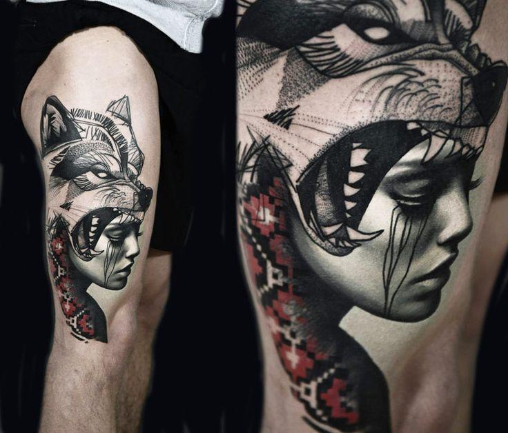 Wolf Woman Tattoo By Sergey Shanko: 25+ Best Ideas About Woman Face Tattoo On Pinterest