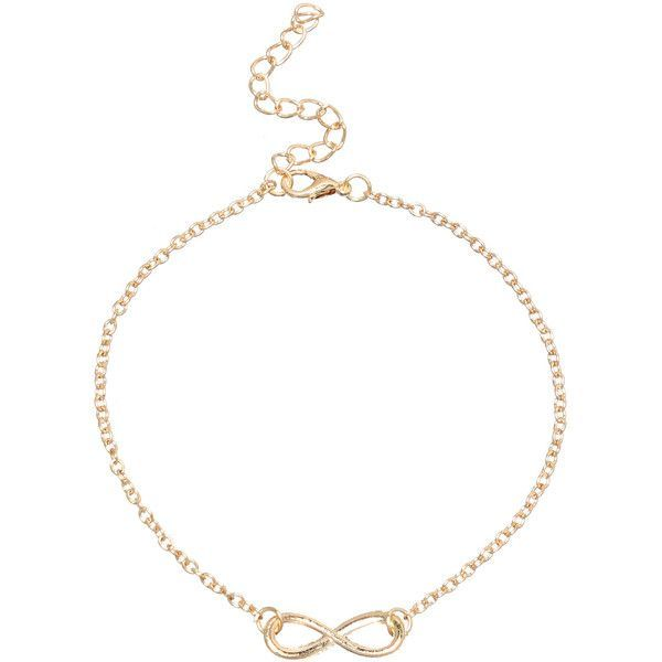 Infinity Symbol Anklet - Gold ($3.99) ❤ liked on Polyvore featuring jewelry, gold, gold anklet, gold infinity jewelry, body jewellery, anklet jewelry and gold jewellery