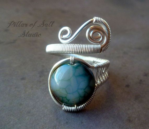 Adjustable ring / Wire Wrapped Ring / silver plated wire wrapped jewelry by PillarOfSaltStudio
