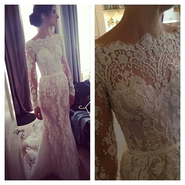 Steven Khalil sheath long sleeve lace wedding gown dress classic vintage detailed bodice