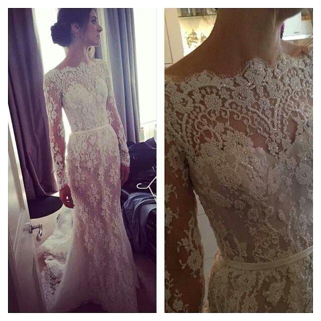 Steven khalil sheath long sleeve lace wedding gown dress for Lace sheath wedding dress vintage