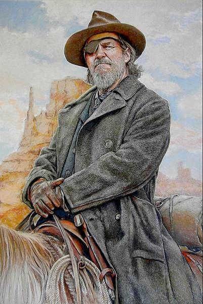 Western Art portrait of Jeff Bridges by Dale Lewis