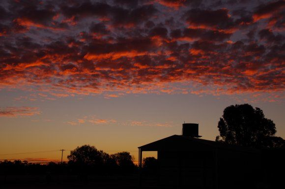 OUTBACK SUNSET OVER ST GEORGE QLD, ST GEORGE, QUEENSLAND