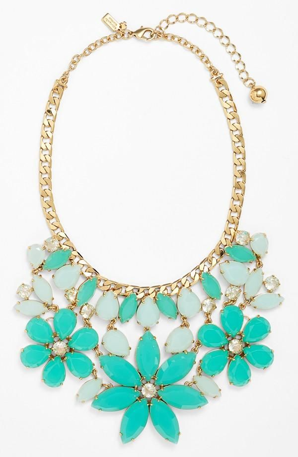Spring statement piece | Mint necklace by Kate Spade. @Linda-Lee Mary  so gorgeous and so your color
