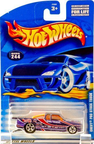 Hot Wheels Chevy Pro Stock Truck #244 Year: 2000 by Mattel. $0.99. 2000 - Mattel - Hot Wheels - Collector #244. New - Mint - Rare - Limited Edition - Collectible. Out of Production - 1:64 Scale Die Casdt Metal. Racing Graphics - Larger Rear Wheels - Chrome Base. Chevy Pro Stock Truck (S10) - Purple / Orange Interior. 2000 - Mattel - Hot Wheels - Collector #244 - Chevy Pro Stock Truck (S10) - Purple - Orange Interior - Racing Graphics - Chrome Base - 1:64 Scale Die Cast M...