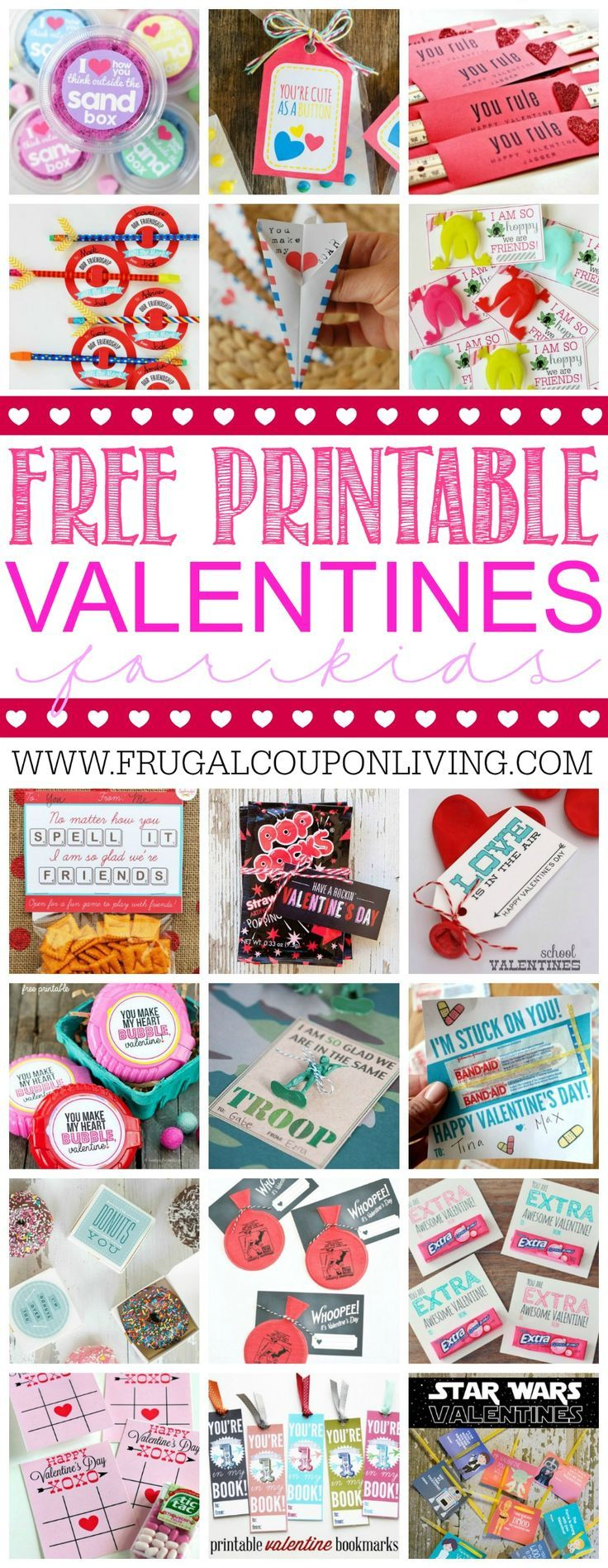 28 Printable Valentines for the Kids - fun printables for homemade valentines on Frugal Coupon Living. #valentines #valentinesday #valentinecrafts #valentinesdaycrafts #craftsforkids #printable #valentineprintables #valentinesdayprintables