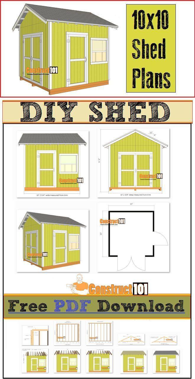 Shed Plans For A 10x10 Garden Shed Includes Free Pdf Download Step By Step Illustrated Instructions Cutt Plans D Abris Abri De Stockage Plan De Travail Bois