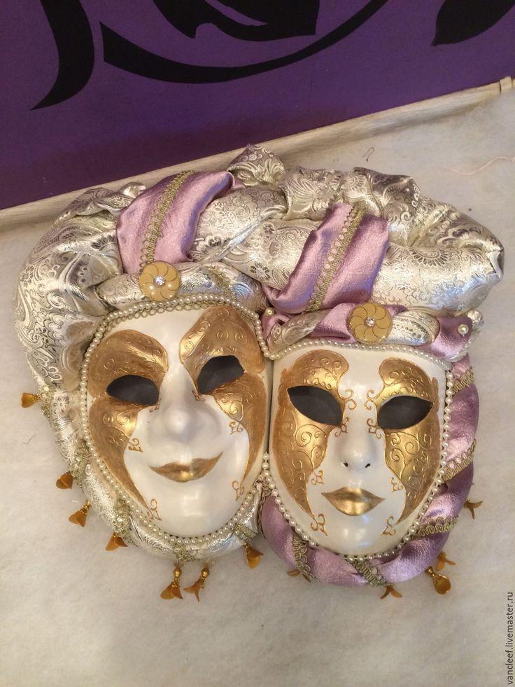 """Купить Интерьерная венецианская маска """"Luxury-2"""" - бежевый, интерьерная композиция, подарок на любой случай"""