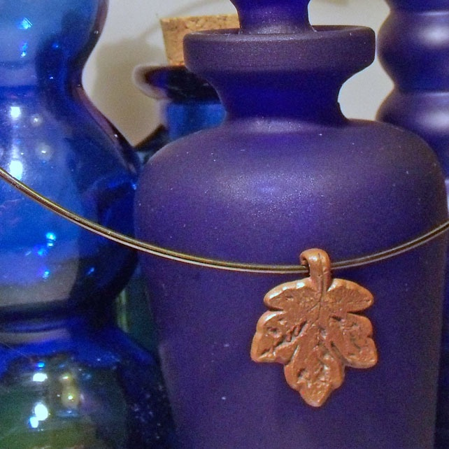 Copper Sycamore Leaf Necklace